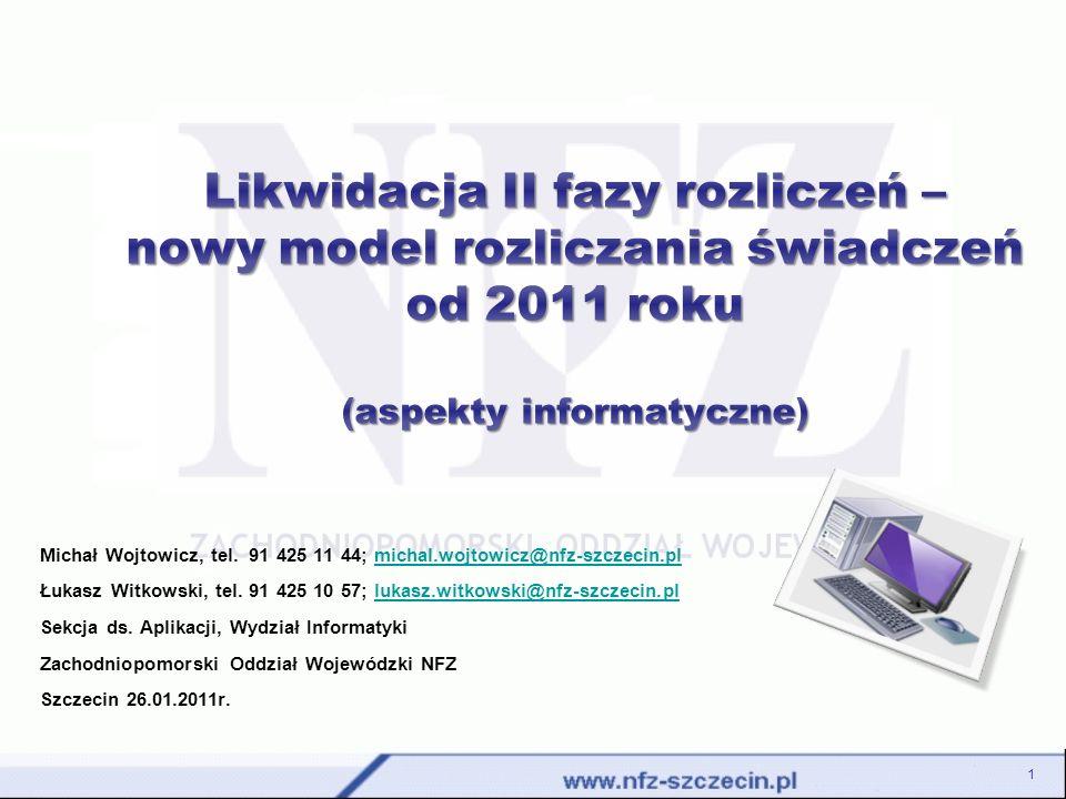Zasady przekazywania danych rozliczeniowych - obieg dokumentów w systemie po likwidacji II fazy System informatyczny OW NFZ Przesłanie komunikatu statystycznego Sprawdzenie zgodności z formatem (XSD) Walidacja zestawów świadczeń Korekta danych / Ponowna generacja komunikatu Import komunikatu zwrotnego Informacja o przekazaniu niepoprawnie zbudowanego komunikatu Błędy walidacji tzw.