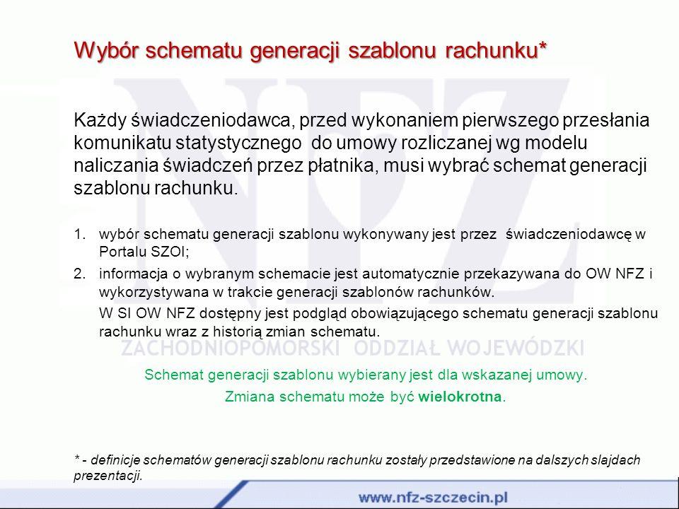 Wybór schematu generacji szablonu rachunku* Każdy świadczeniodawca, przed wykonaniem pierwszego przesłania komunikatu statystycznego do umowy rozlicza