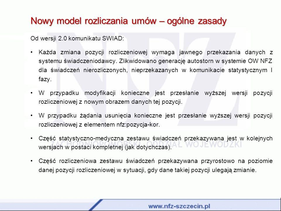 Nowy model rozliczania umów – ogólne zasady Od wersji 2.0 komunikatu SWIAD: Każda zmiana pozycji rozliczeniowej wymaga jawnego przekazania danych z sy