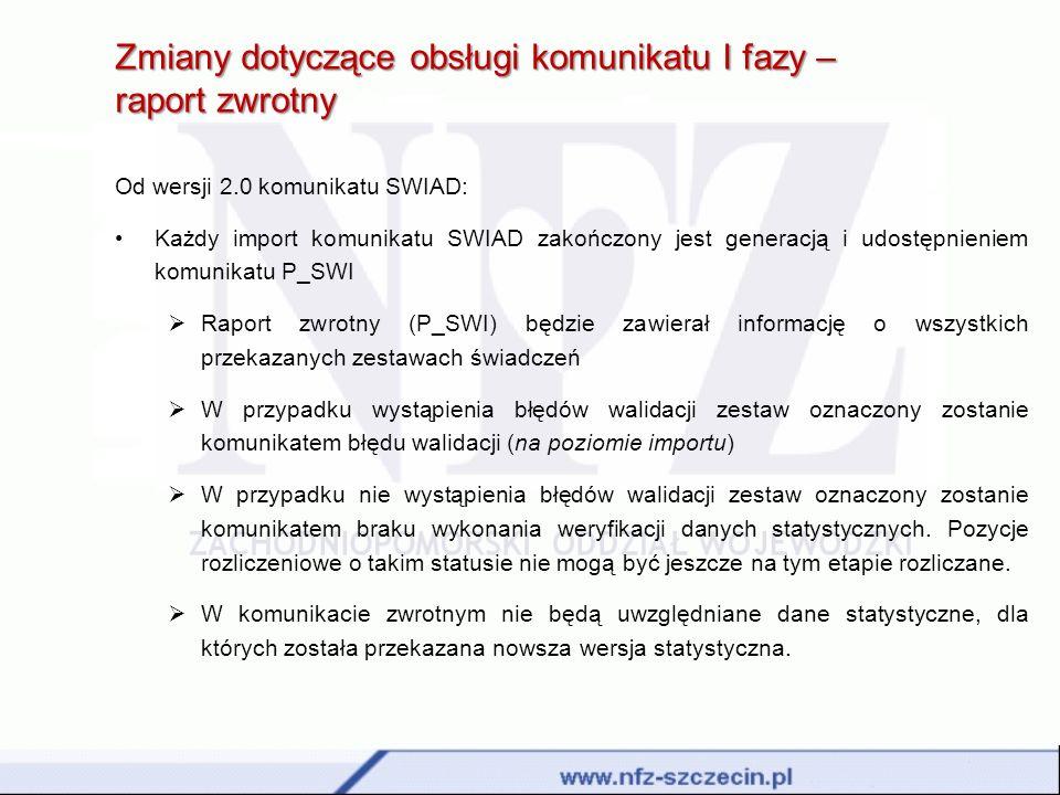 Zmiany dotyczące obsługi komunikatu I fazy – raport zwrotny Od wersji 2.0 komunikatu SWIAD: Każdy import komunikatu SWIAD zakończony jest generacją i