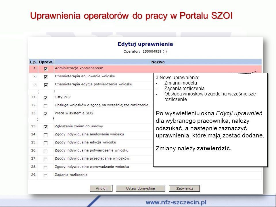 Uprawnienia operatorów do pracy w Portalu SZOI 3 Nowe uprawnienia: -Zmiana modelu -Żądania rozliczenia -Obsługa wniosków o zgodę na wcześniejsze rozli