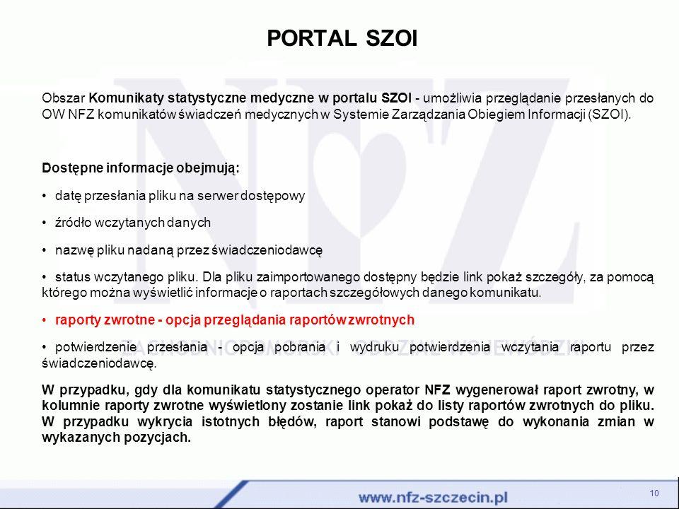 PORTAL SZOI 10 Obszar Komunikaty statystyczne medyczne w portalu SZOI - umożliwia przeglądanie przesłanych do OW NFZ komunikatów świadczeń medycznych w Systemie Zarządzania Obiegiem Informacji (SZOI).