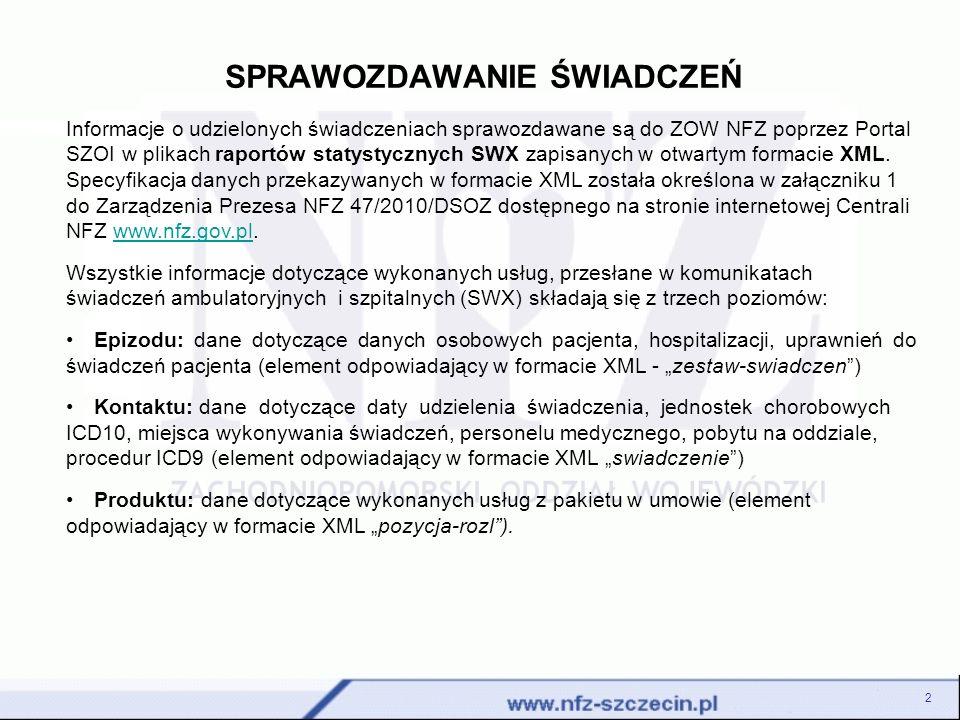 SPRAWOZDAWANIE ŚWIADCZEŃ 2 Informacje o udzielonych świadczeniach sprawozdawane są do ZOW NFZ poprzez Portal SZOI w plikach raportów statystycznych SW