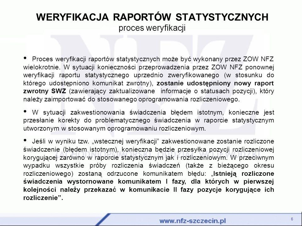 WERYFIKACJA RAPORTÓW STATYSTYCZNYCH proces weryfikacji 6 Proces weryfikacji raportów statystycznych może być wykonany przez ZOW NFZ wielokrotnie.