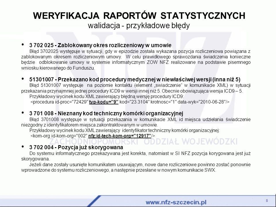 WERYFIKACJA RAPORTÓW STATYSTYCZNYCH walidacja - przykładowe błędy 8 3 702 025 - Zablokowany okres rozliczeniowy w umowie Błąd 3702025 występuje w sytu