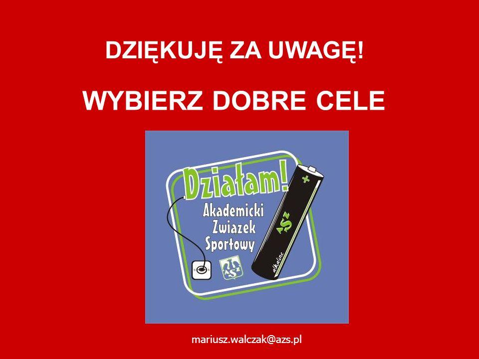DZIĘKUJĘ ZA UWAGĘ! WYBIERZ DOBRE CELE mariusz.walczak@azs.pl