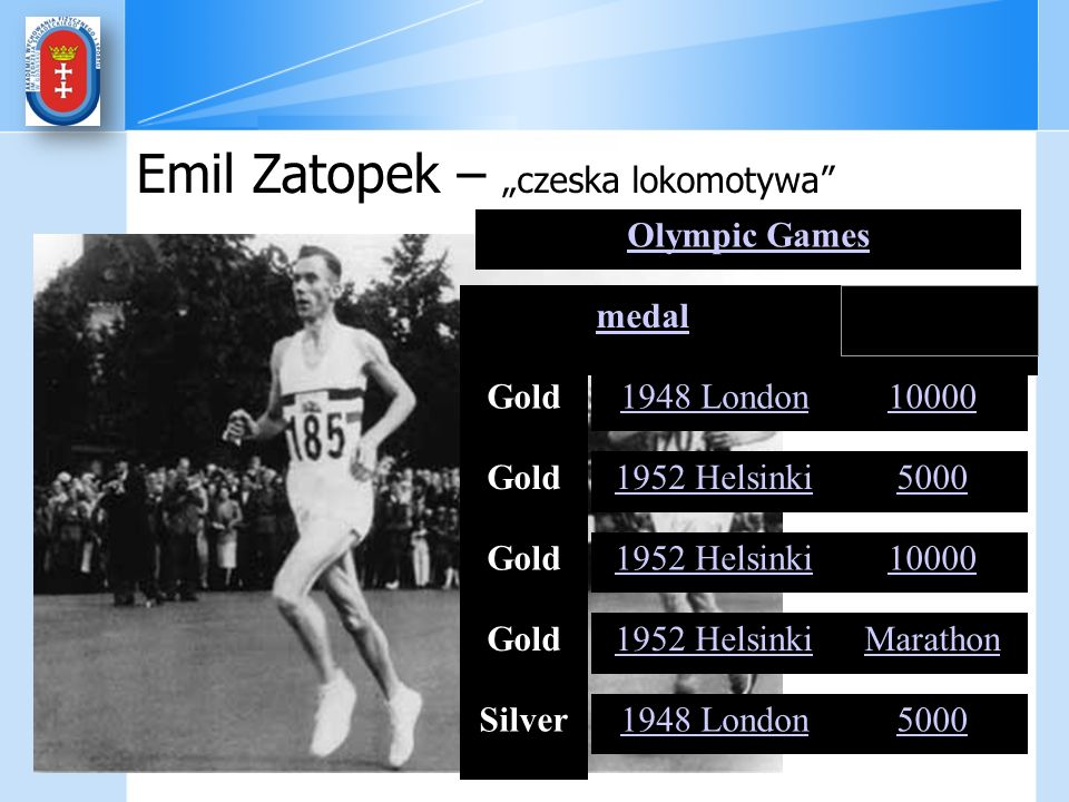 Olympic Games medalmedals Gold1948 London10000 Gold1952 Helsinki5000 Gold1952 Helsinki10000 Gold1952 HelsinkiMarathon Silver1948 London5000 metres met