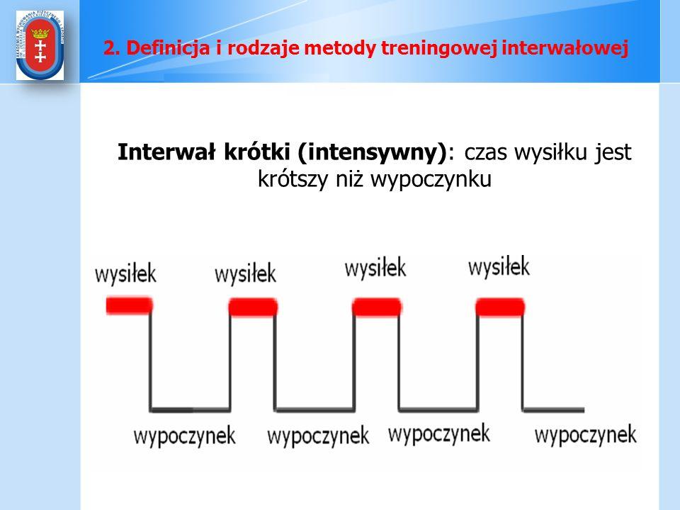 Interwał krótki (intensywny): czas wysiłku jest krótszy niż wypoczynku 2. Definicja i rodzaje metody treningowej interwałowej