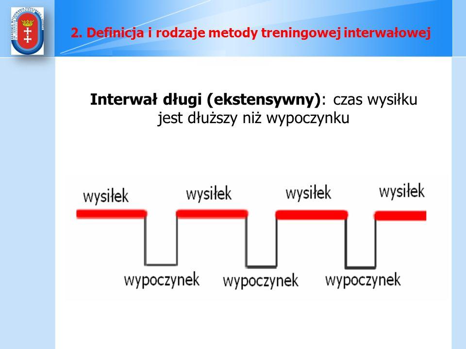 Interwał długi (ekstensywny): czas wysiłku jest dłuższy niż wypoczynku 2. Definicja i rodzaje metody treningowej interwałowej