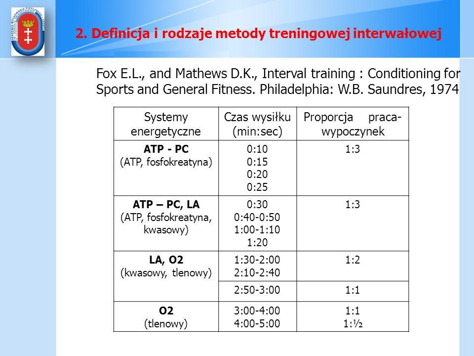 Systemy energetyczne Czas wysiłku (min:sec) Proporcja praca- wypoczynek ATP - PC (ATP, fosfokreatyna) 0:10 0:15 0:20 0:25 1:3 ATP – PC, LA (ATP, fosfo