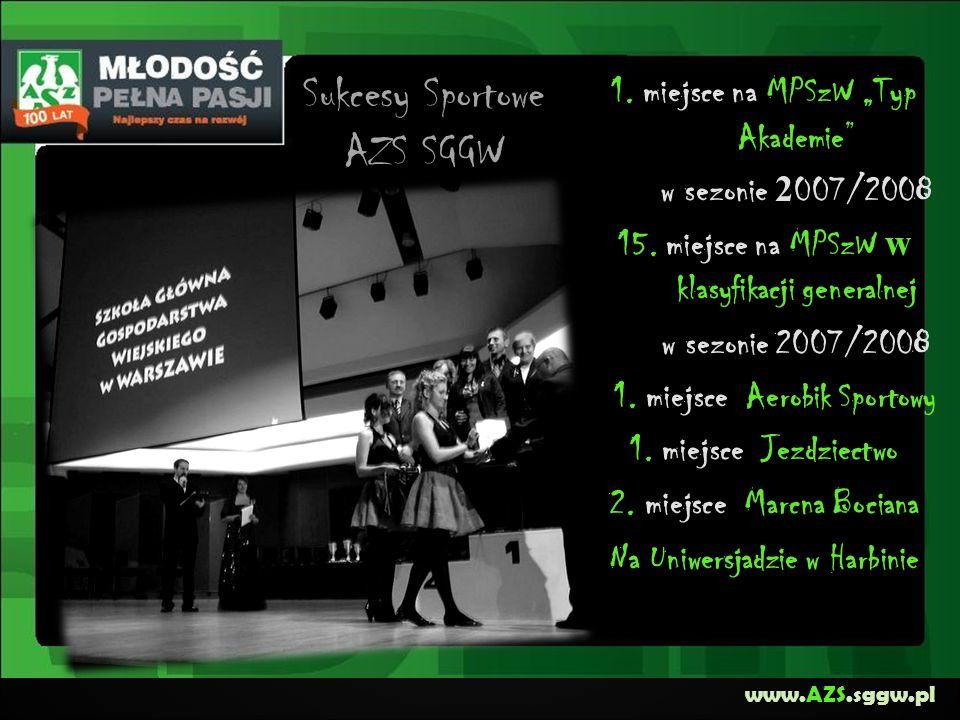 www.AZS.sggw.pl 1. miejsce na MPSzW Typ Akademie w sezonie 2 007/2008 15. miejsce na MPSzW w klasyfikacji generalnej w sezonie 2007/2008 1. miejsce Ae