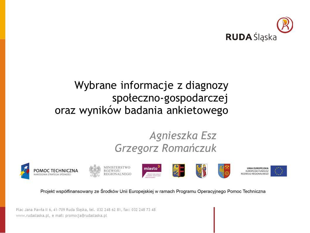 Wybrane informacje z diagnozy społeczno-gospodarczej oraz wyników badania ankietowego Agnieszka Esz Grzegorz Romańczuk Plac Jana Pawła II 6, 41-709 Ruda Śląska, tel.