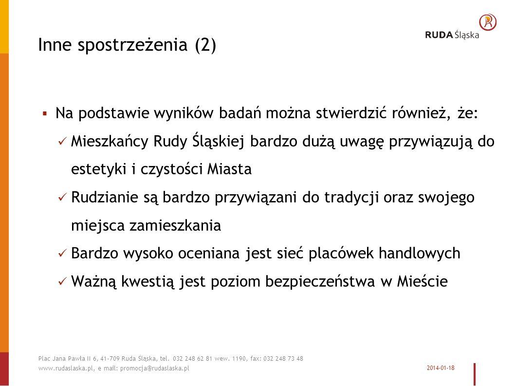 Inne spostrzeżenia (2) Na podstawie wyników badań można stwierdzić również, że: Mieszkańcy Rudy Śląskiej bardzo dużą uwagę przywiązują do estetyki i czystości Miasta Rudzianie są bardzo przywiązani do tradycji oraz swojego miejsca zamieszkania Bardzo wysoko oceniana jest sieć placówek handlowych Ważną kwestią jest poziom bezpieczeństwa w Mieście 2014-01-18 Plac Jana Pawła II 6, 41-709 Ruda Śląska, tel.