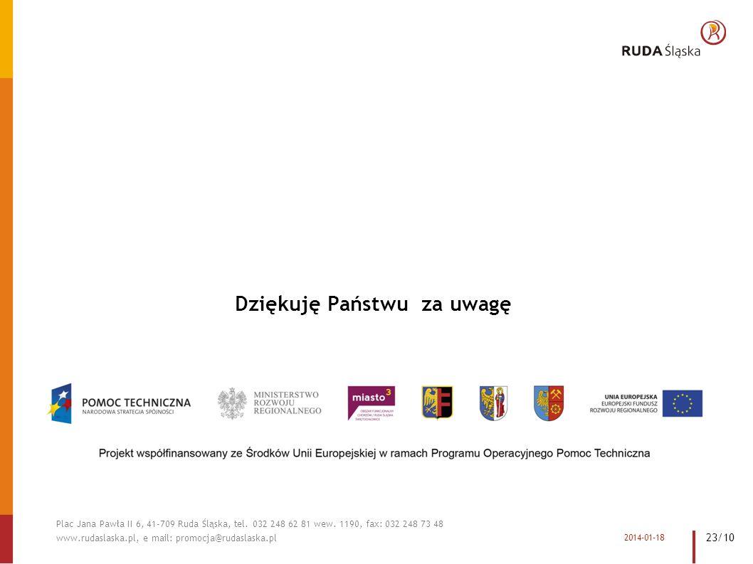 Dziękuję Państwu za uwagę 2014-01-18 Plac Jana Pawła II 6, 41-709 Ruda Śląska, tel.