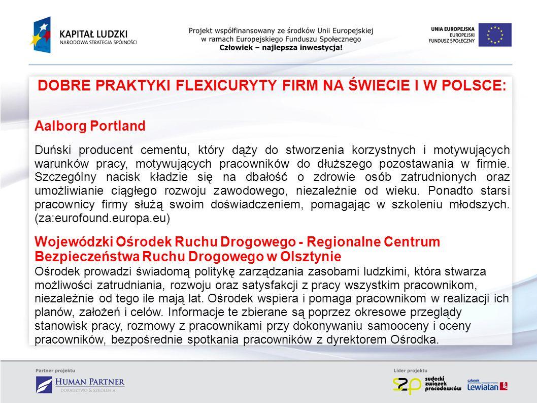 DOBRE PRAKTYKI FLEXICURYTY FIRM NA ŚWIECIE I W POLSCE: Aalborg Portland Duński producent cementu, który dąży do stworzenia korzystnych i motywujących