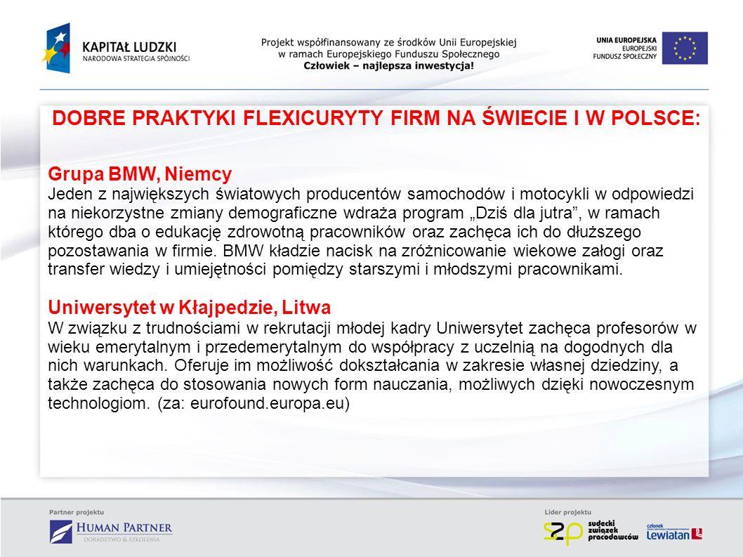 DOBRE PRAKTYKI FLEXICURYTY FIRM NA ŚWIECIE I W POLSCE: Grupa BMW, Niemcy Jeden z największych światowych producentów samochodów i motocykli w odpowied