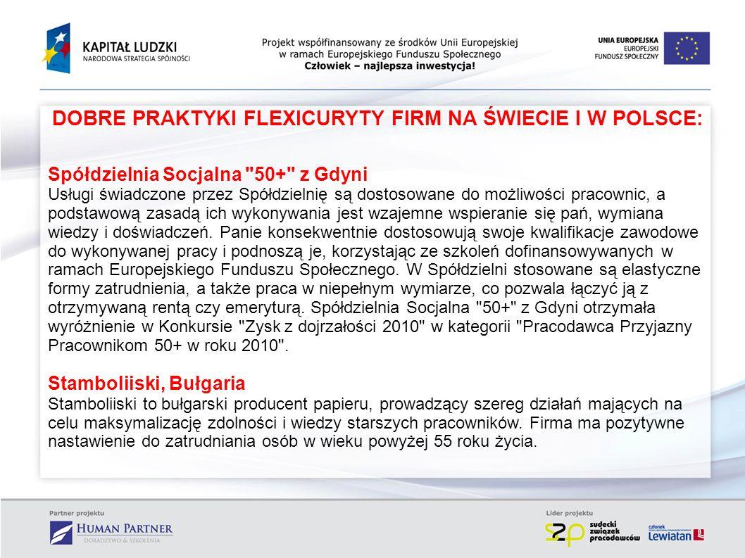 DOBRE PRAKTYKI FLEXICURYTY FIRM NA ŚWIECIE I W POLSCE: Spółdzielnia Socjalna