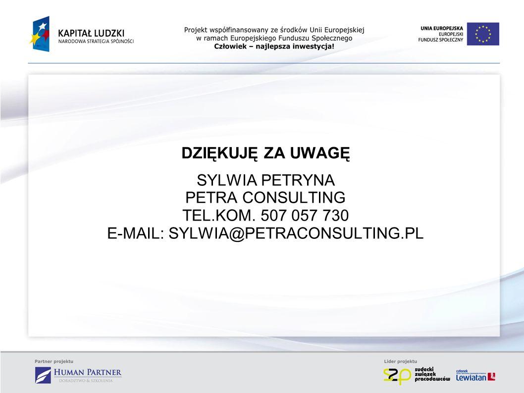DZIĘKUJĘ ZA UWAGĘ SYLWIA PETRYNA PETRA CONSULTING TEL.KOM. 507 057 730 E-MAIL: SYLWIA@PETRACONSULTING.PL