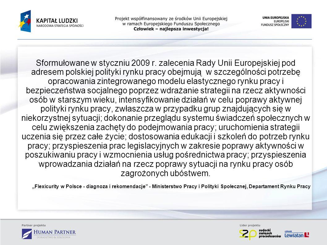 Sformułowane w styczniu 2009 r. zalecenia Rady Unii Europejskiej pod adresem polskiej polityki rynku pracy obejmują w szczególności potrzebę opracowan