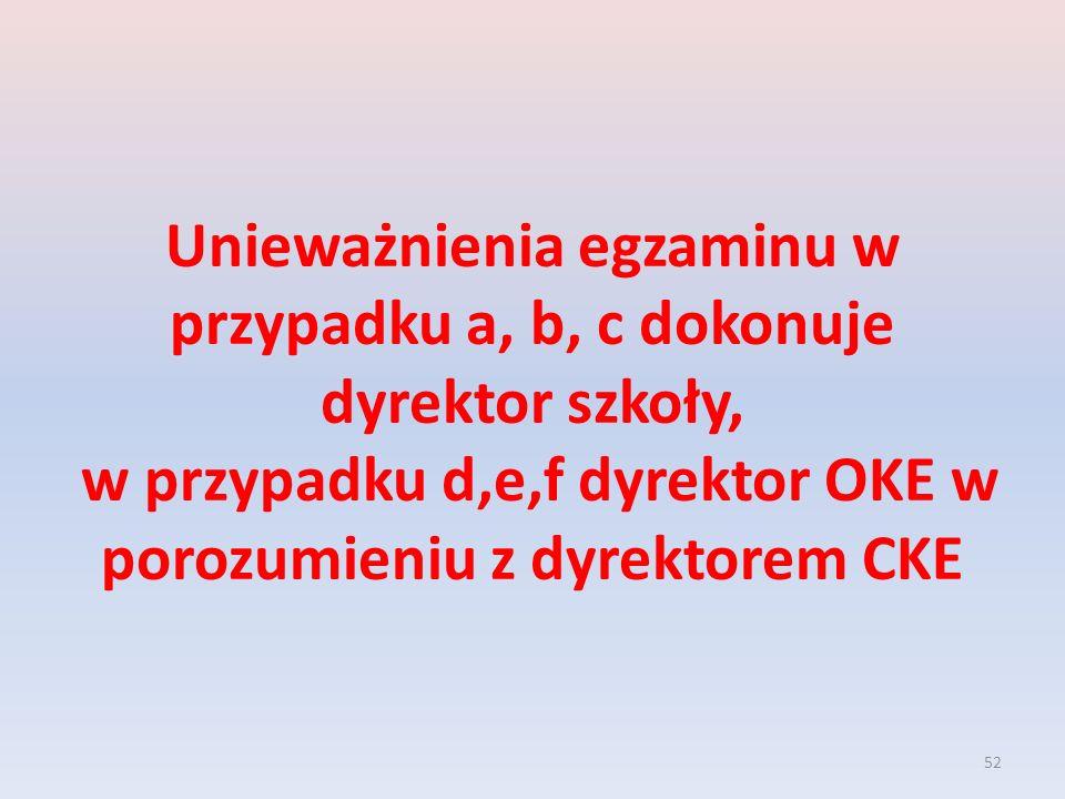52 Unieważnienia egzaminu w przypadku a, b, c dokonuje dyrektor szkoły, w przypadku d,e,f dyrektor OKE w porozumieniu z dyrektorem CKE