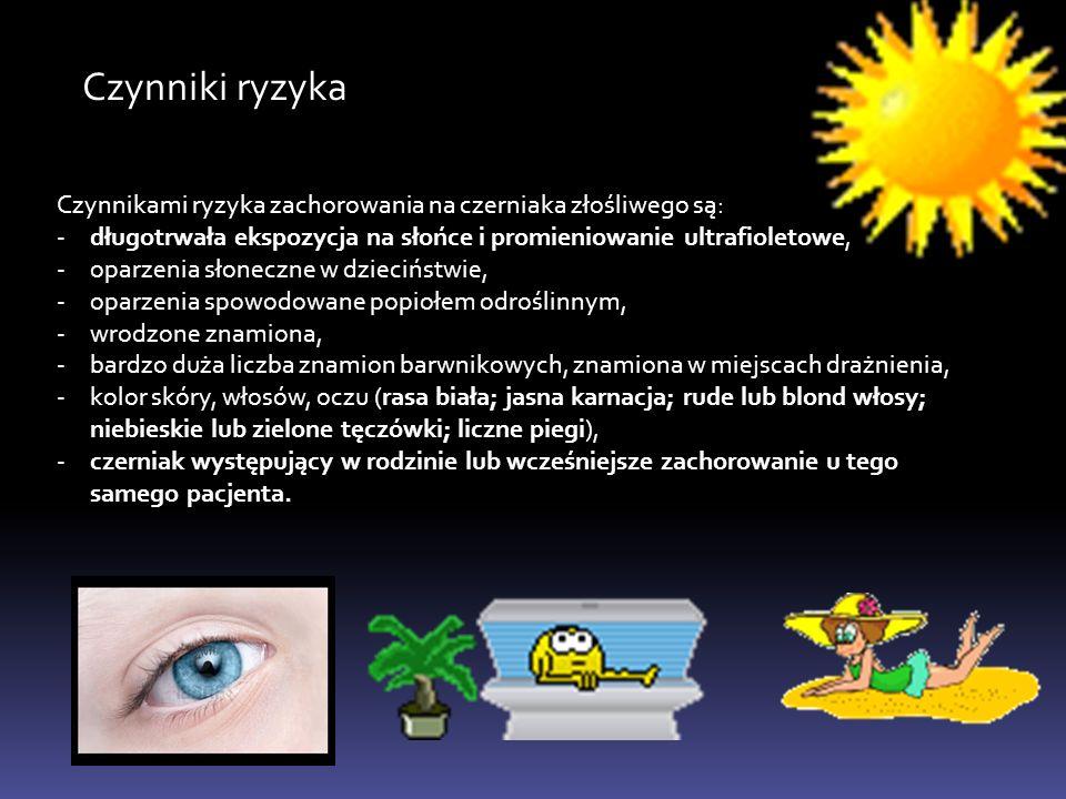 Czynniki ryzyka Czynnikami ryzyka zachorowania na czerniaka złośliwego są: -długotrwała ekspozycja na słońce i promieniowanie ultrafioletowe, -oparzen