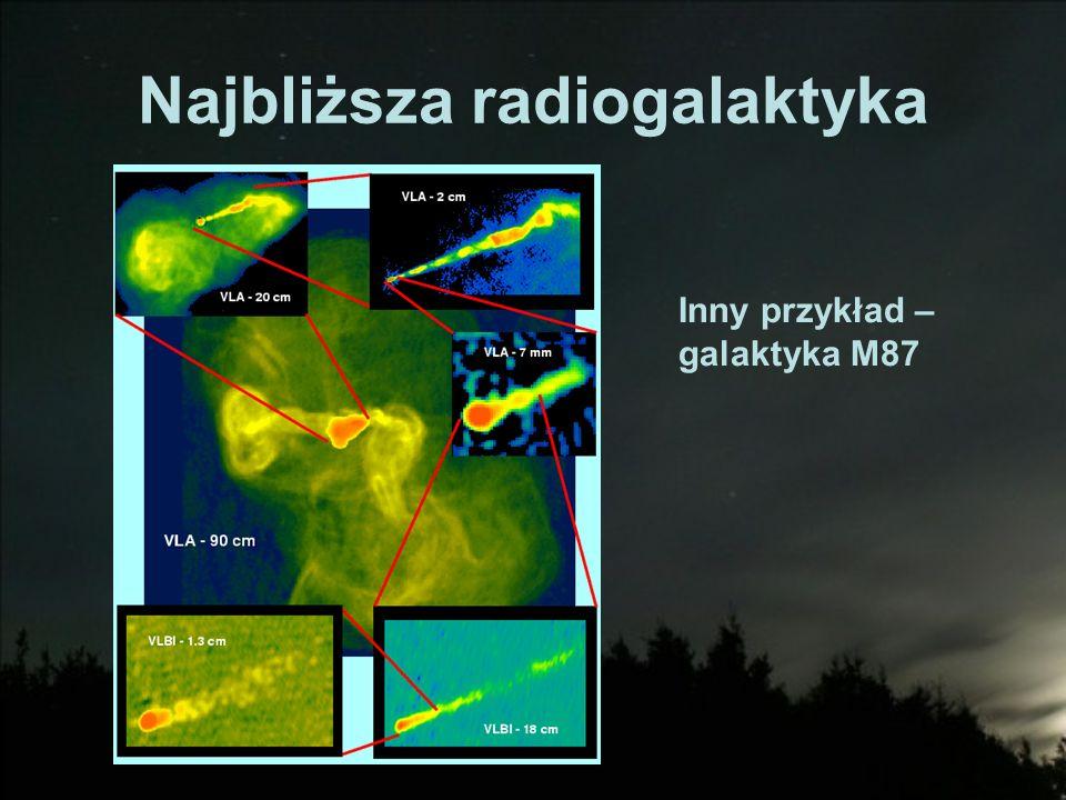 Najbliższa radiogalaktyka Inny przykład – galaktyka M87