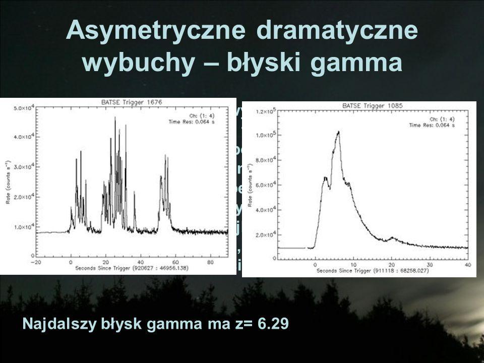 Asymetryczne dramatyczne wybuchy – błyski gamma Niektóre wybuchy supernowych zachodzą tak, że powodują rozbłyski gamma, trwające kilka – kilkadziesiąt