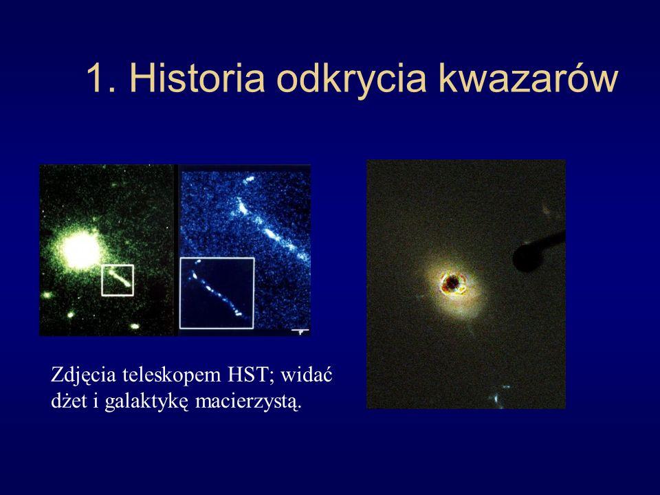 1. Historia odkrycia kwazarów Zdjęcia teleskopem HST; widać dżet i galaktykę macierzystą.