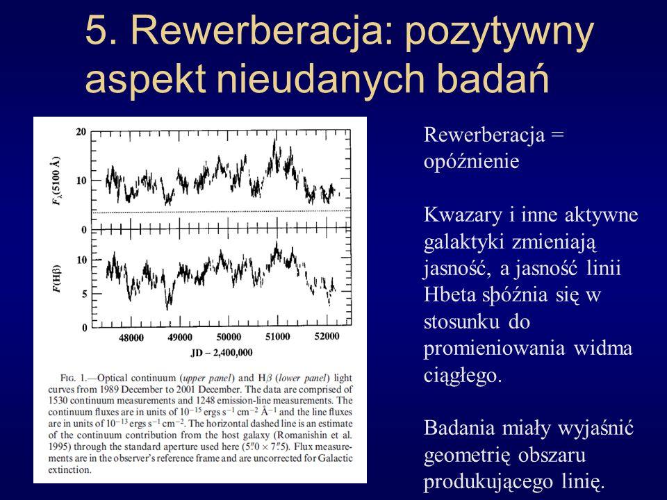 5. Rewerberacja: pozytywny aspekt nieudanych badań Rewerberacja = opóźnienie Kwazary i inne aktywne galaktyki zmieniają jasność, a jasność linii Hbeta