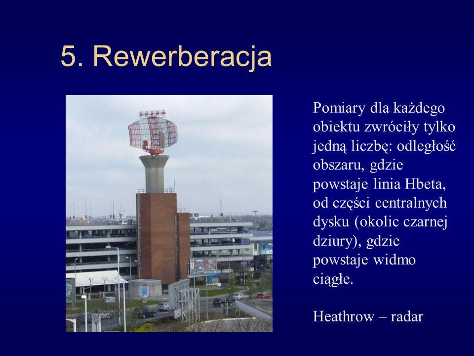 5. Rewerberacja Pomiary dla każdego obiektu zwróciły tylko jedną liczbę: odległość obszaru, gdzie powstaje linia Hbeta, od części centralnych dysku (o