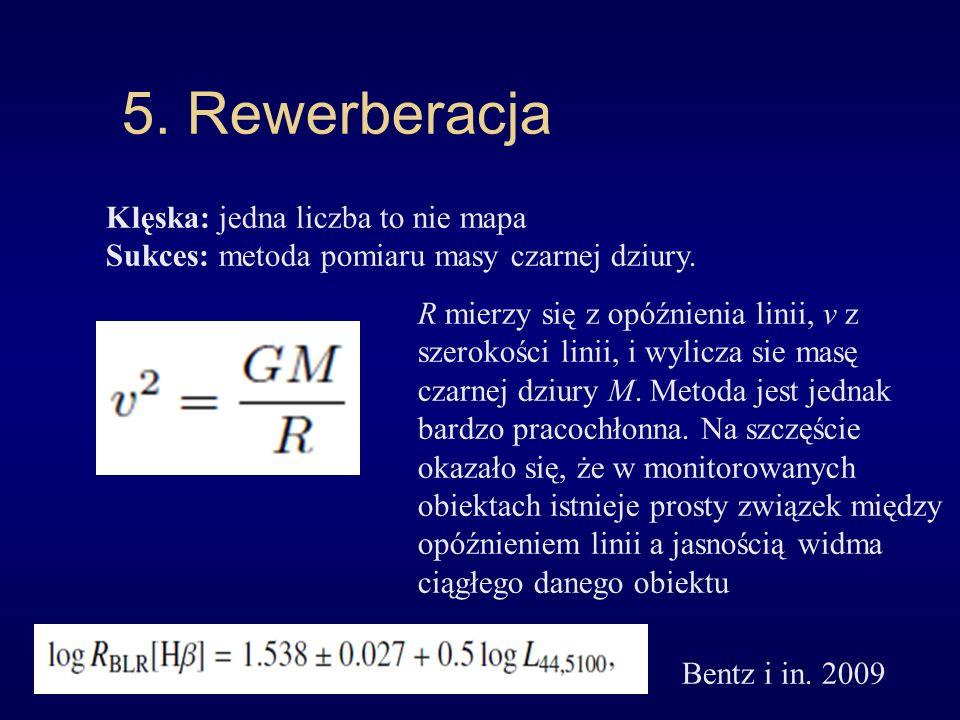5. Rewerberacja Klęska: jedna liczba to nie mapa Sukces: metoda pomiaru masy czarnej dziury. R mierzy się z opóźnienia linii, v z szerokości linii, i