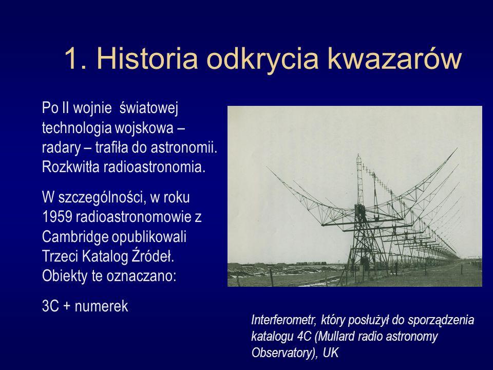 1. Historia odkrycia kwazarów Po II wojnie światowej technologia wojskowa – radary – trafiła do astronomii. Rozkwitła radioastronomia. W szczególności