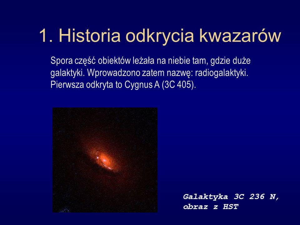 1. Historia odkrycia kwazarów Spora część obiektów leżała na niebie tam, gdzie duże galaktyki. Wprowadzono zatem nazwę: radiogalaktyki. Pierwsza odkry