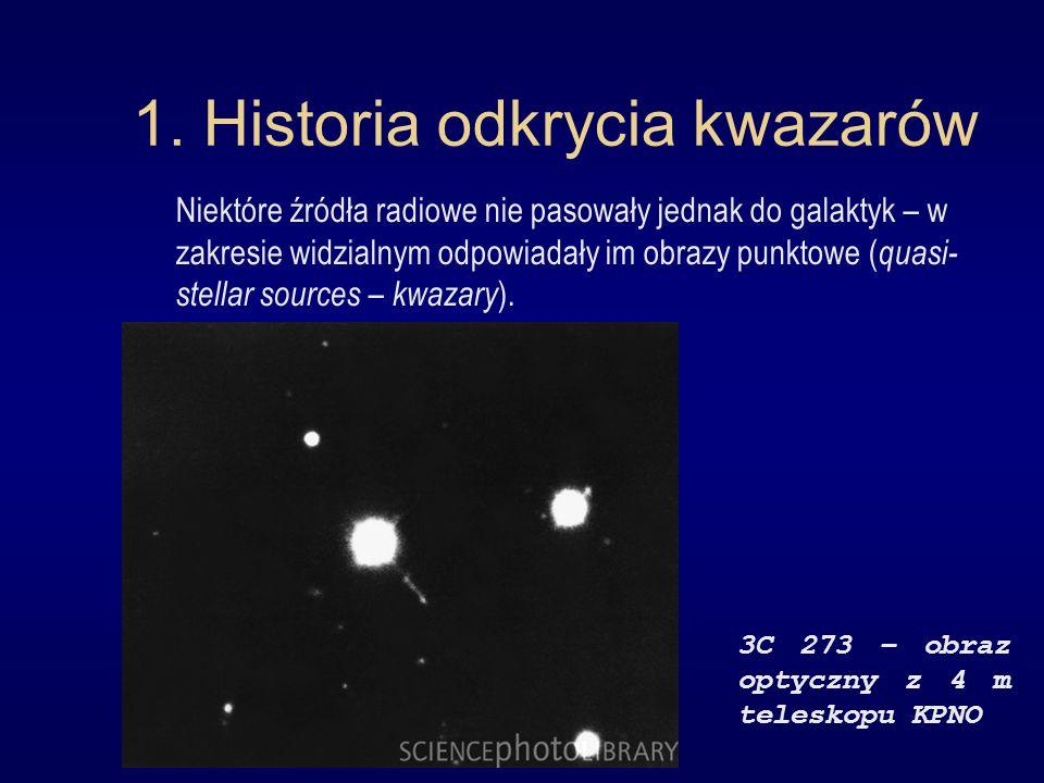 1. Historia odkrycia kwazarów Niektóre źródła radiowe nie pasowały jednak do galaktyk – w zakresie widzialnym odpowiadały im obrazy punktowe ( quasi-