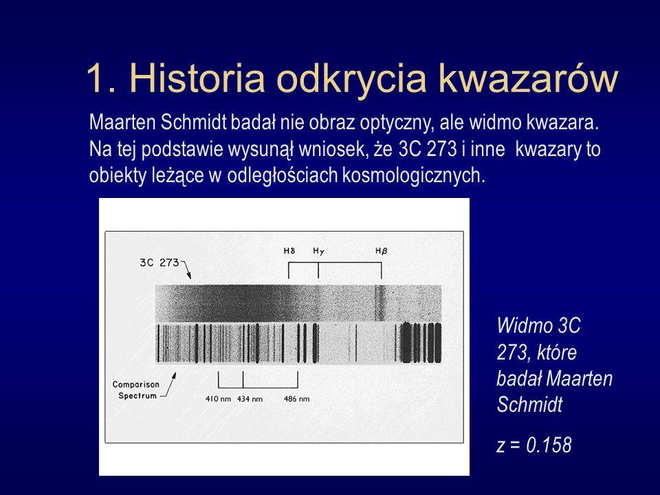 1. Historia odkrycia kwazarów Maarten Schmidt badał nie obraz optyczny, ale widmo kwazara. Na tej podstawie wysunął wniosek, że 3C 273 i inne kwazary