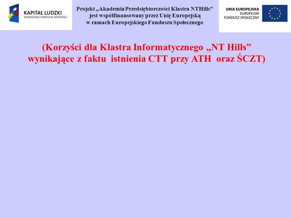 Projekt Akademia Przedsiębiorczości Klastra NTHills jest współfinansowany przez Unię Europejską w ramach Europejskiego Funduszu Społecznego (Korzyści dla Klastra Informatycznego NT Hills wynikające z faktu istnienia CTT przy ATH oraz ŚCZT)