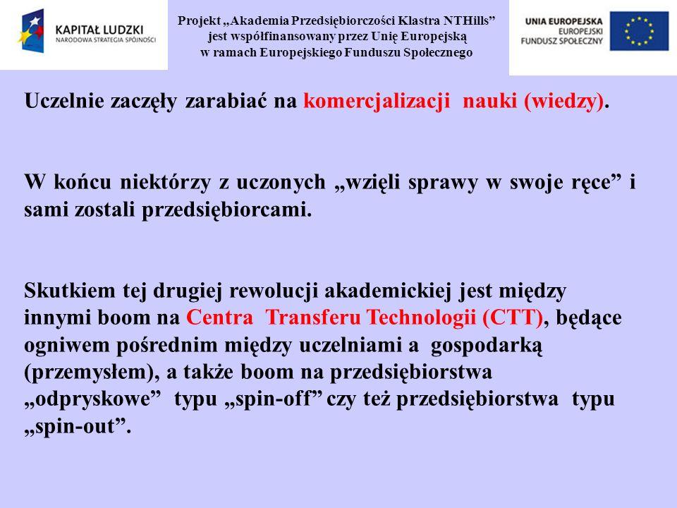 Projekt Akademia Przedsiębiorczości Klastra NTHills jest współfinansowany przez Unię Europejską w ramach Europejskiego Funduszu Społecznego Uczelnie zaczęły zarabiać na komercjalizacji nauki (wiedzy).