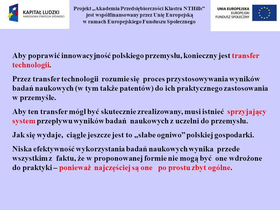 Projekt Akademia Przedsiębiorczości Klastra NTHills jest współfinansowany przez Unię Europejską w ramach Europejskiego Funduszu Społecznego Aby poprawić innowacyjność polskiego przemysłu, konieczny jest transfer technologii.