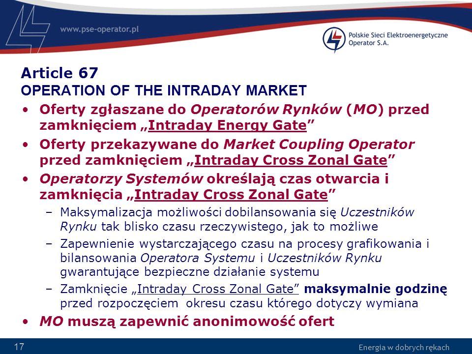 Energia w dobrych rękach 17 Article 67 OPERATION OF THE INTRADAY MARKET Oferty zgłaszane do Operatorów Rynków (MO) przed zamknięciem Intraday Energy G