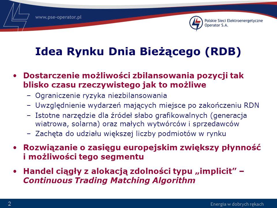 Energia w dobrych rękach 2 Idea Rynku Dnia Bieżącego (RDB) Dostarczenie możliwości zbilansowania pozycji tak blisko czasu rzeczywistego jak to możliwe