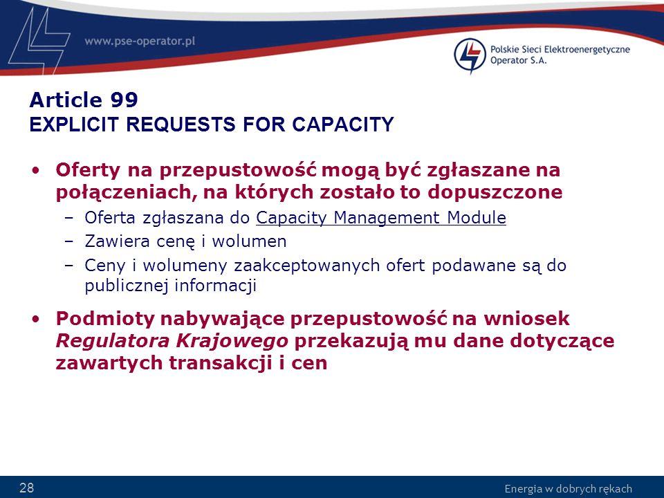 Energia w dobrych rękach 28 Article 99 EXPLICIT REQUESTS FOR CAPACITY Oferty na przepustowość mogą być zgłaszane na połączeniach, na których zostało t