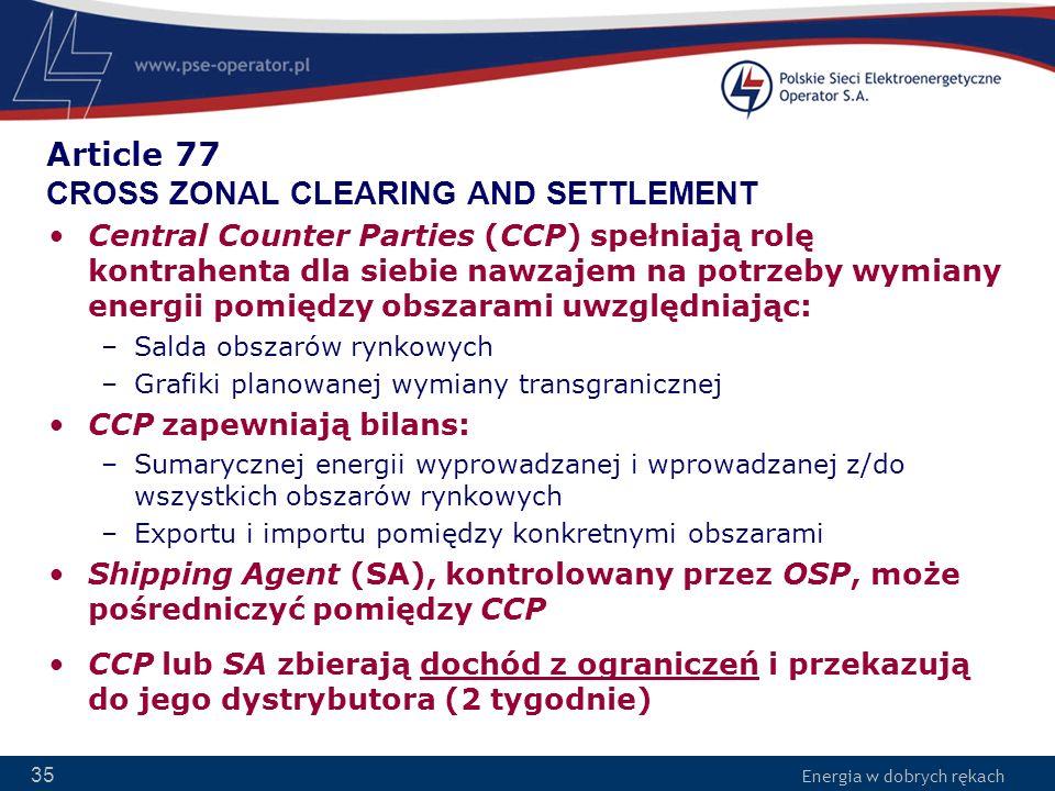 Energia w dobrych rękach 35 Article 77 CROSS ZONAL CLEARING AND SETTLEMENT Central Counter Parties (CCP) spełniają rolę kontrahenta dla siebie nawzaje