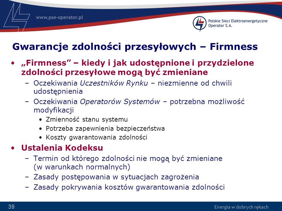 Energia w dobrych rękach 39 Gwarancje zdolności przesyłowych – Firmness Firmness – kiedy i jak udostępnione i przydzielone zdolności przesyłowe mogą b