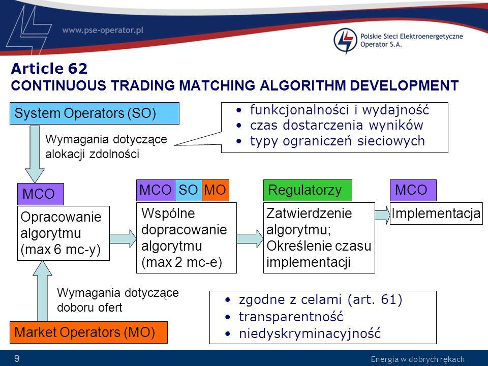 Energia w dobrych rękach 10 Article 62 CONTINUOUS TRADING MATCHING ALGORITHM DEVELOPMENT Źródło Algorytmu DRB powinno być dostępne publicznie Możliwość wydłużenia czasu opracowania Algorytmu RDB za zgodą Regulatorów