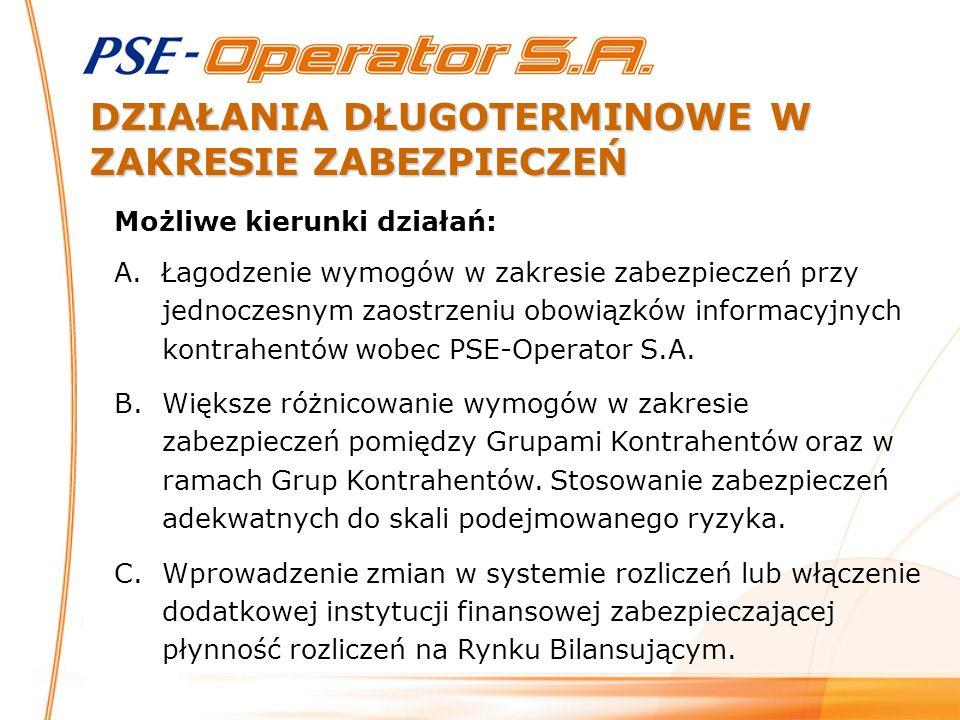 WARUNKI WPROWADZANIA ZMIAN W ZAKRESIE ZABEZPIECZEŃ Założenia: Nie pogorszenie pozycji PSE-Operator S.A.