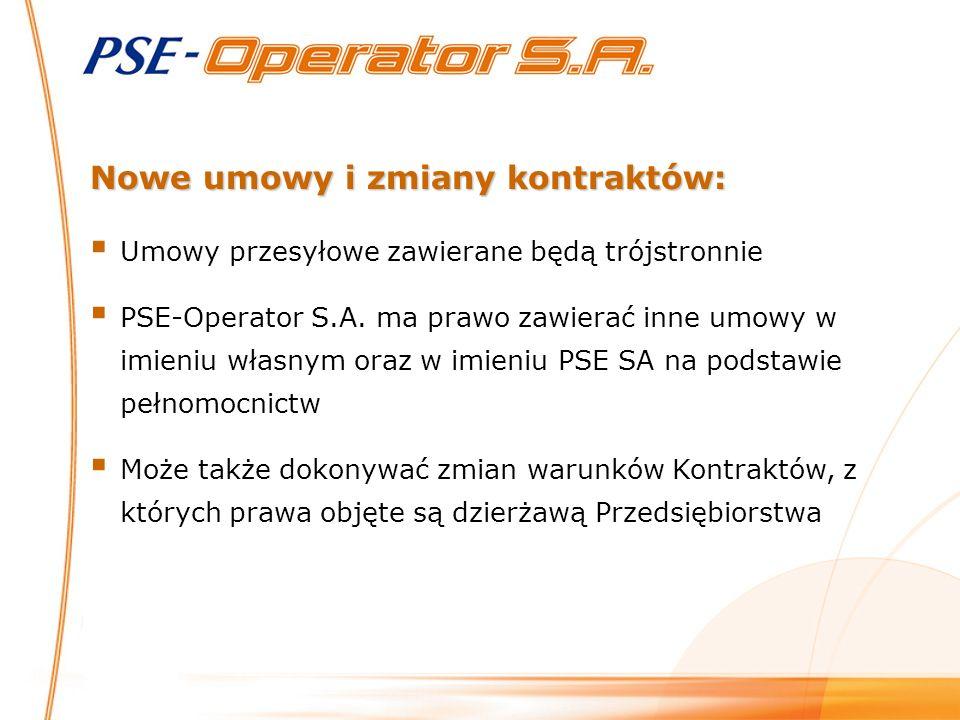 Umowy przesyłowe zawierane będą trójstronnie PSE-Operator S.A.