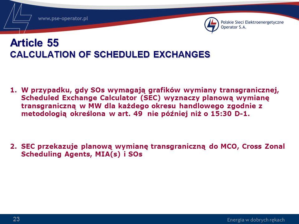 Energia w dobrych rękach WWW.PSE-operator.pl. Energia w dobrych rękach Article 55 CALCULATION OF SCHEDULED EXCHANGES 1.W przypadku, gdy SOs wymagają g