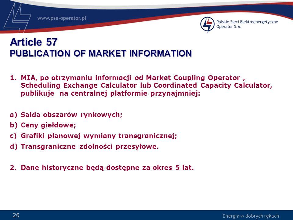 Energia w dobrych rękach WWW.PSE-operator.pl. Energia w dobrych rękach Article 57 PUBLICATION OF MARKET INFORMATION 1.MIA, po otrzymaniu informacji od