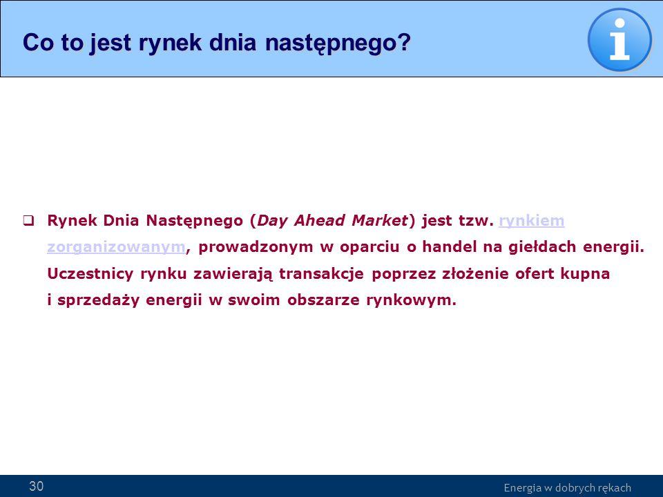 Energia w dobrych rękach WWW.PSE-operator.pl. Energia w dobrych rękach Rynek Dnia Następnego (Day Ahead Market) jest tzw. rynkiem zorganizowanym, prow
