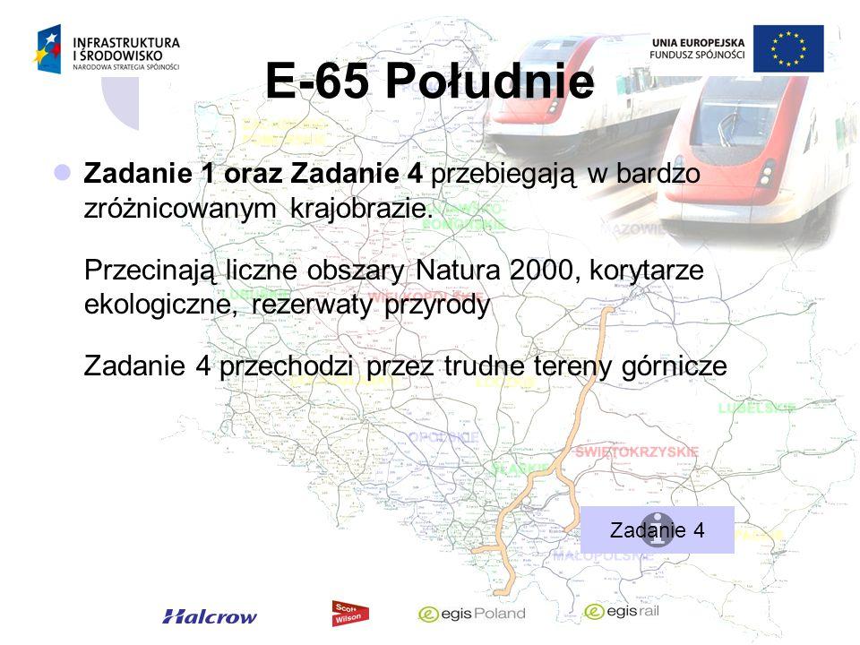 E-65 Południe Zadanie 1 oraz Zadanie 4 przebiegają w bardzo zróżnicowanym krajobrazie. Przecinają liczne obszary Natura 2000, korytarze ekologiczne, r